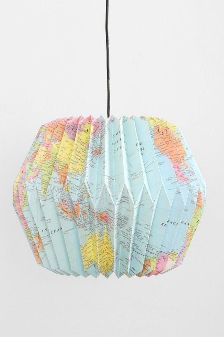 lampenschirm basteln -papier-erdkugel-karte-erdkunde-origami