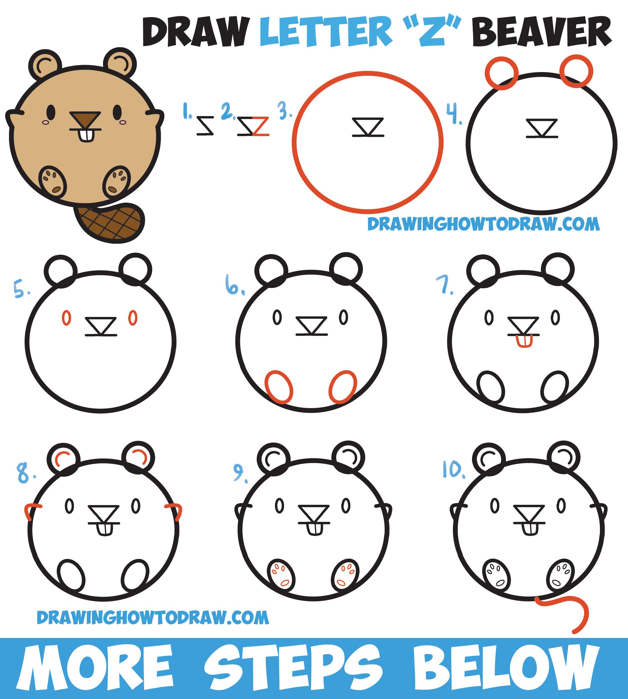 Learn How To Draw A Cute Cartoon Beaver With Letters Easy Step By Step Drawing Tutorial For Children How To Draw Step By Step Drawing Tutorials Drawing Tutorial Step By