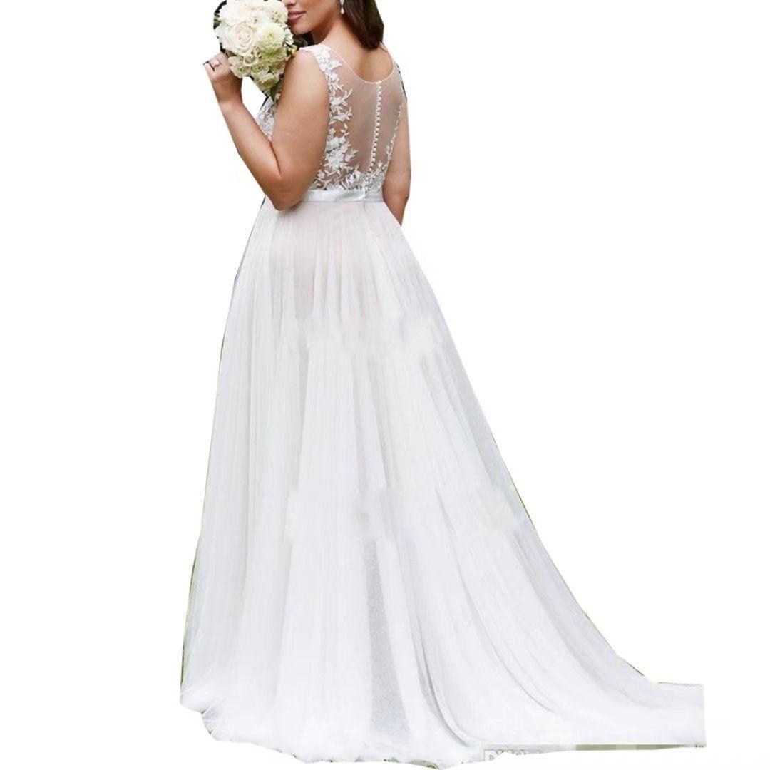 Plus size tulle wedding dress  Jasminebridal Womens Plus Size Tulle Wedding Dresses Round Neck