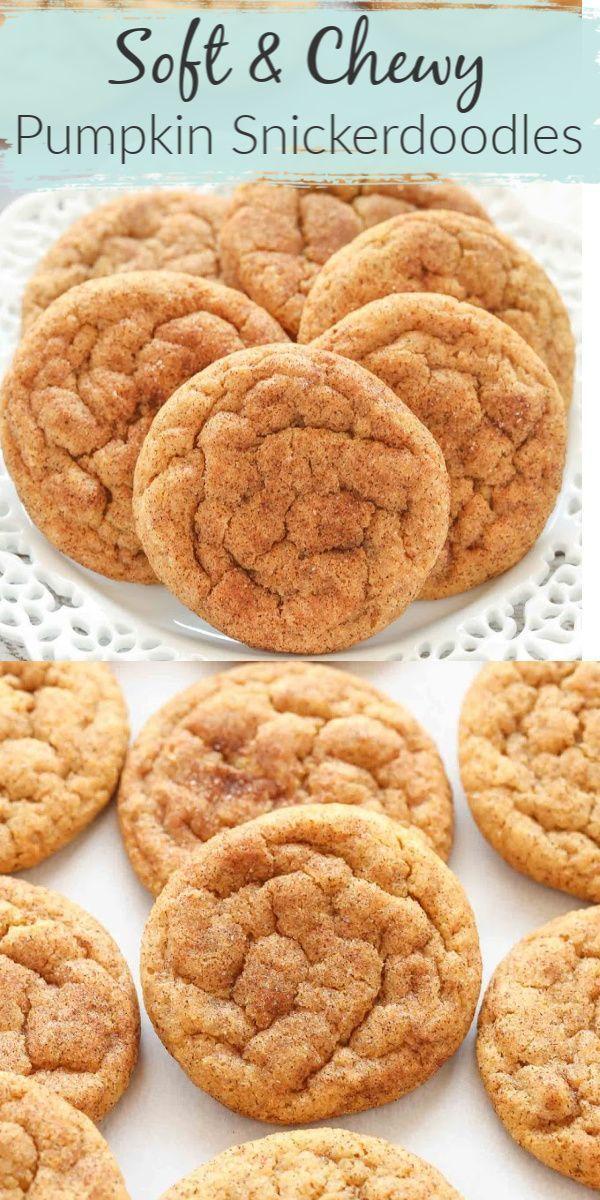 Soft & Chewy Pumpkin Snickerdoodle Cookies #cinnamonsugarcookies