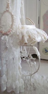 Silk and Lace Covered Moses Basket