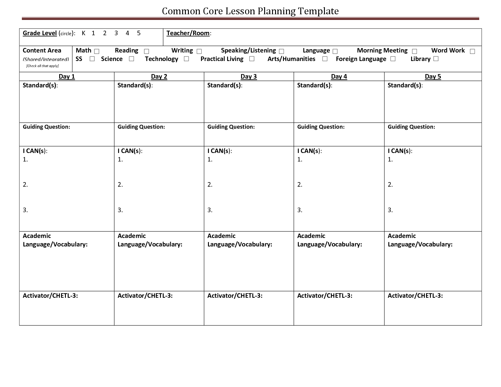 Common Core Lesson Planning Template Learning Targets - Common core lesson plan templates