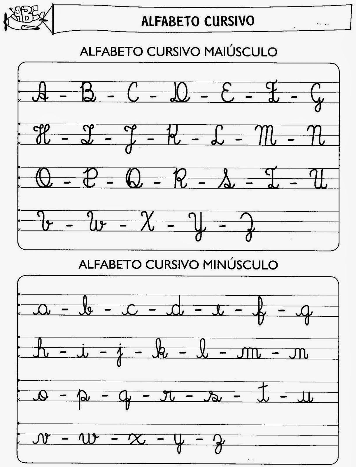 Alfabeto Cursivo Maiúsculo e Minúsculo para Imprimir - QDB ...