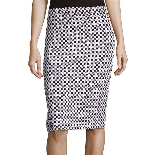 St. John Checkered Jacquard-Knit Pencil Skirt ($224) ❤ liked on ...