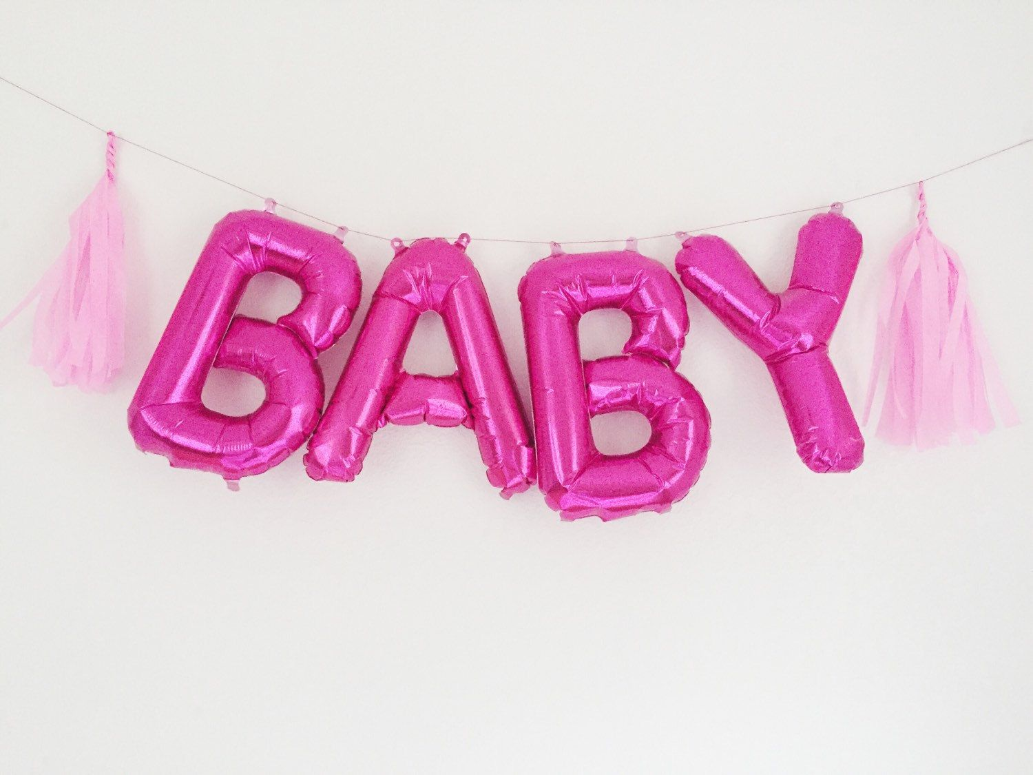 BABY letter balloons pink mylar foil letters by OhShinyPaperCo ...