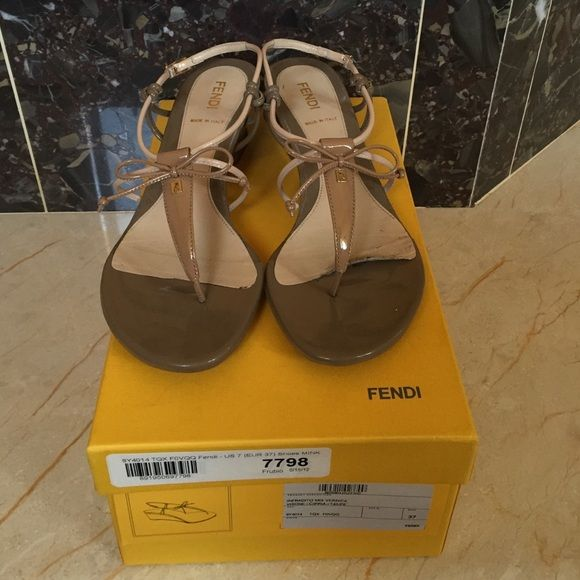 Fendi Shoes Fendi sandal wedges. Beige and tan patent sandals size 7. Good condition. FENDI Shoes