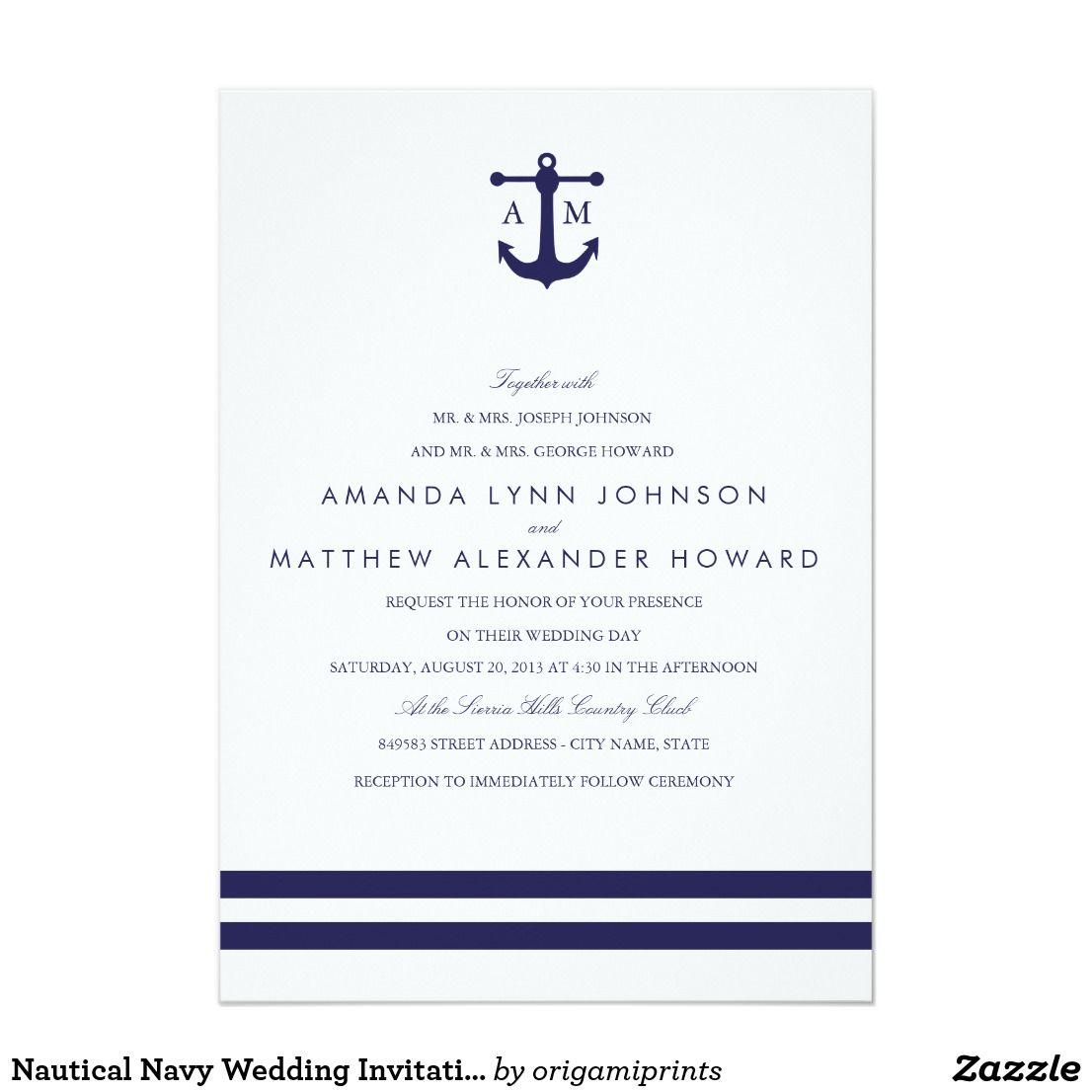 Nautical Navy Wedding Invitation   Wedding : Nautical   Pinterest ...