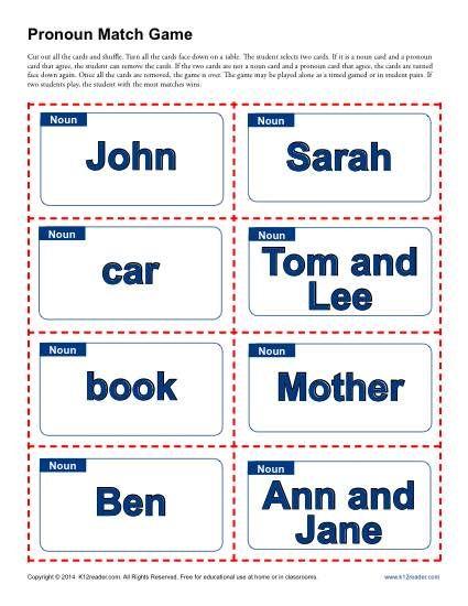 Pronoun Match Game | Worksheets, Gaming and Teaching pronouns