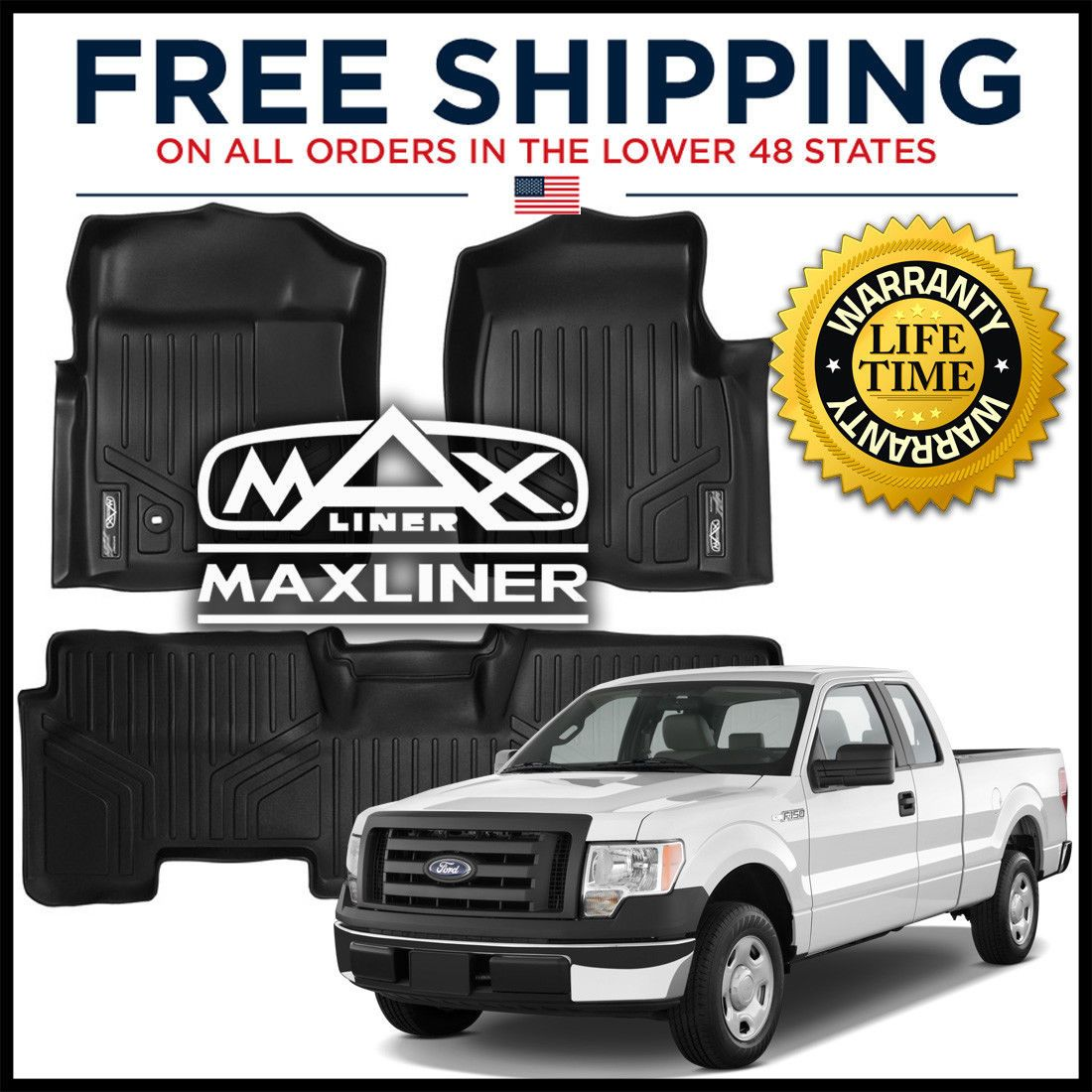 (Ad eBay) MAXFLOORMAT 1st/2nd Row Floor Liner Mats BLACK