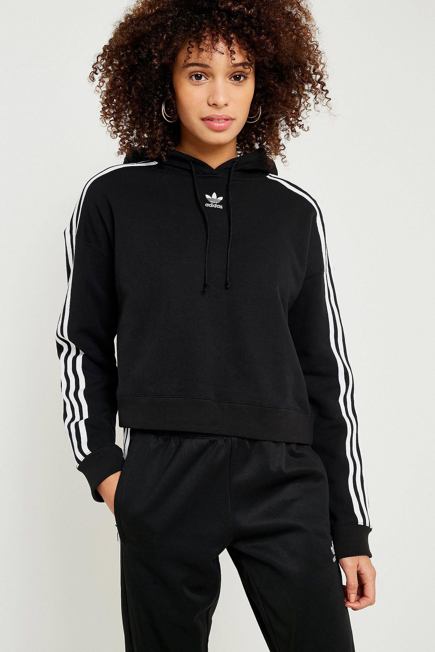 Adidas Originals 3 Stripe Cropped Hoodie Cropped Hoodie Hoodies Hoodies Womens [ 2175 x 1450 Pixel ]