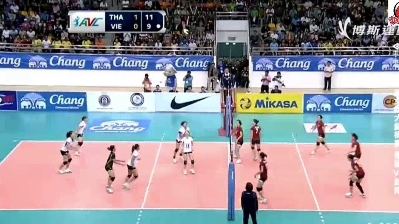 Long Rally Action Volleyball Between Match Vietnam Vs Thailand Avc Vol Volleyball Thailand Vietnam