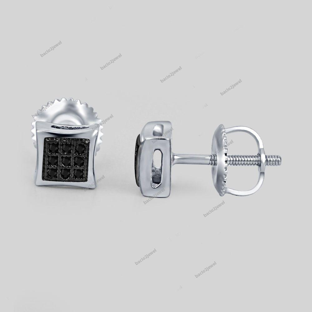 Black Square Shaped Micro Pave CZ Kite Stud Earrings Black Plate Sterling Silver