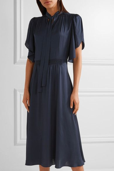 Paul & Joe | Pussy-bow shirred satin midi dress | NET-A-PORTER.COM