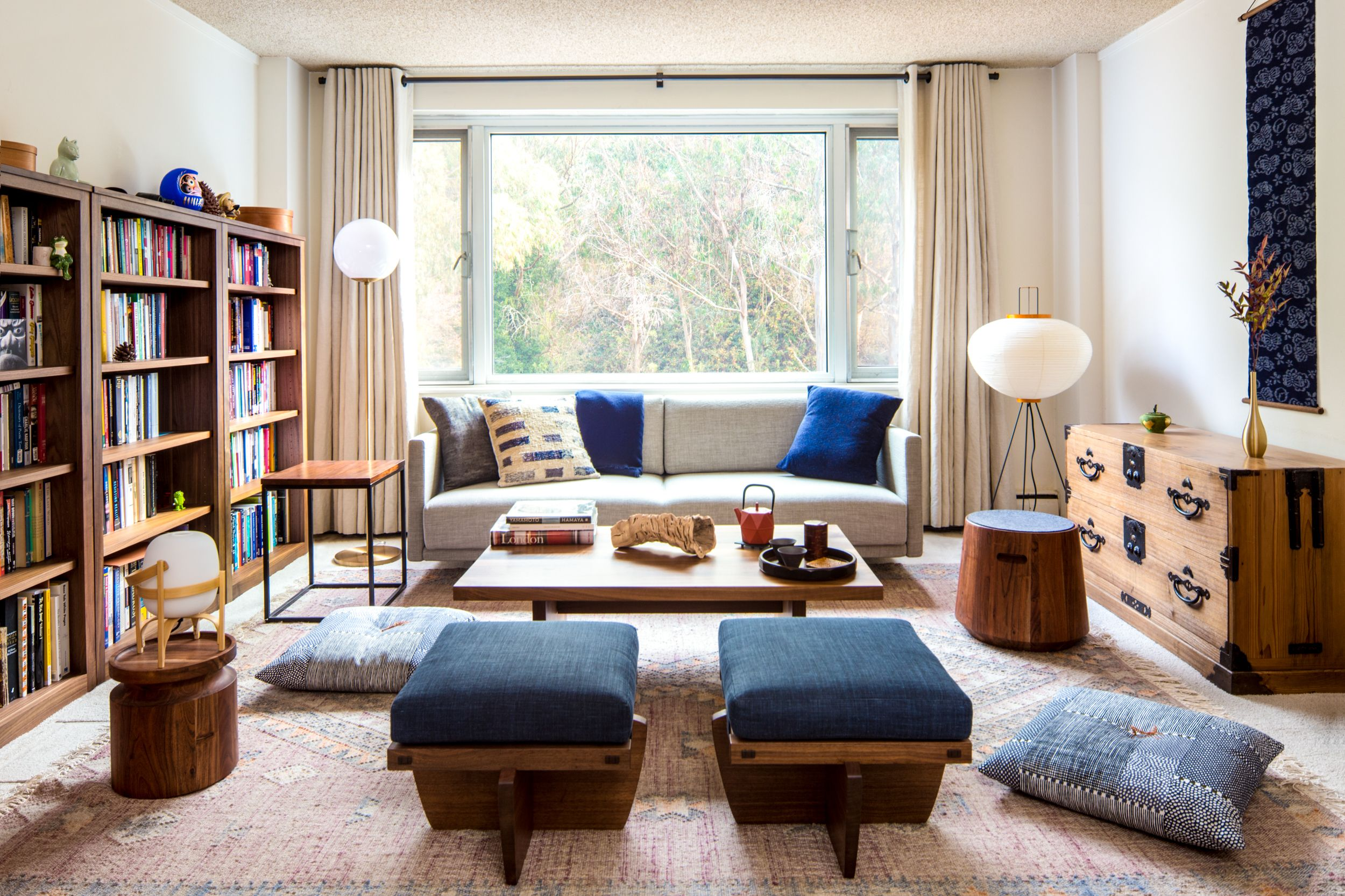 Zen Living room Interior Design for 650 sqft Apartment ...