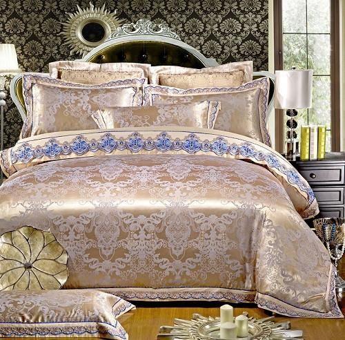 4/6 Pcs White Color Jacquard Luxury Bedding sets Queen/King size