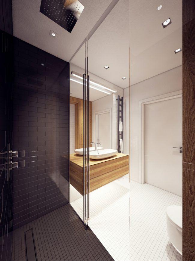 bodengleiche-dusche-kacheln-mosaik-schwarz-weiss-regenduschkopf ... | {Bodengleiche dusche design 10}