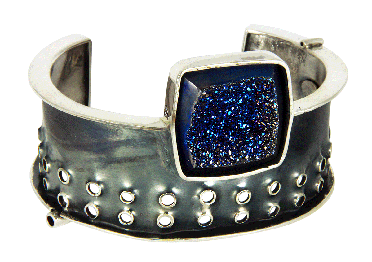 Druzy cuff little rock jewellery studio robyn cornelius sterling