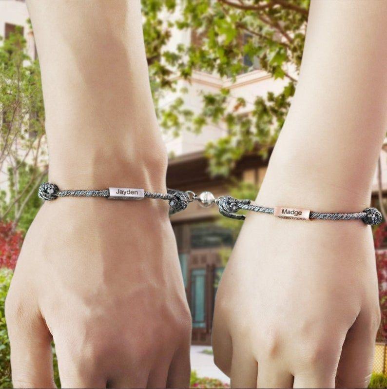 MeMeDIY Personalized Bracelet Nameplate Date Engraved Bracelets for Women Men Girls Boys Couples Custom Anklet Adjustable Handmade Braided Rope Stainless Steel Tag Lovers Jewelry