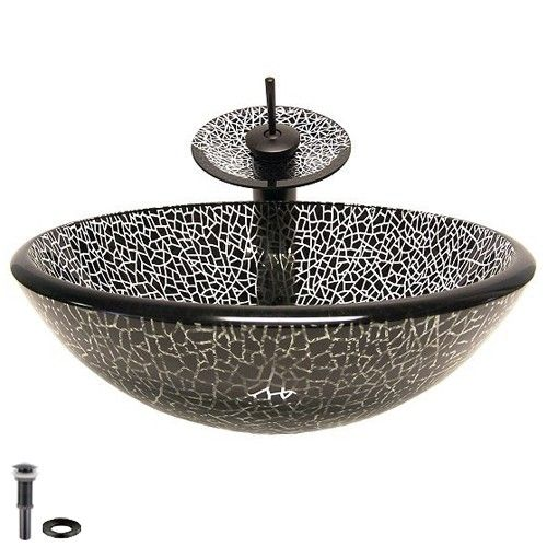 Black Cracked Glass Sink U0026 Antique Black Waterfall Faucet Sold At US$246.99