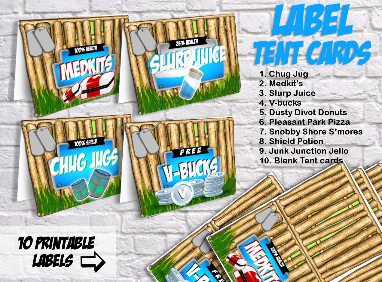 Fortnite Tent Cards Printable Labels Food Labels Print Etsy Mesa De Dulces Fortnite