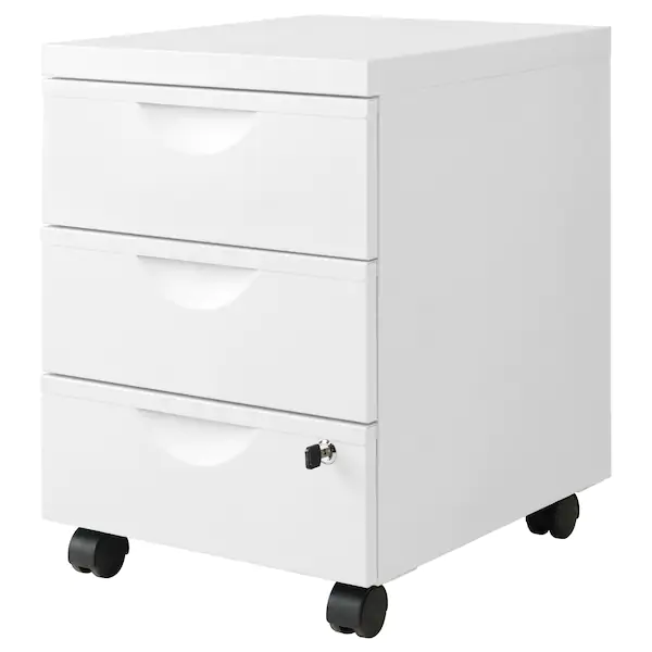 Erik Drawer Unit W 3 Drawers On Casters White 16 1 8x22 1 2 In 2020 Drawer Unit Ikea Erik Under Desk Storage