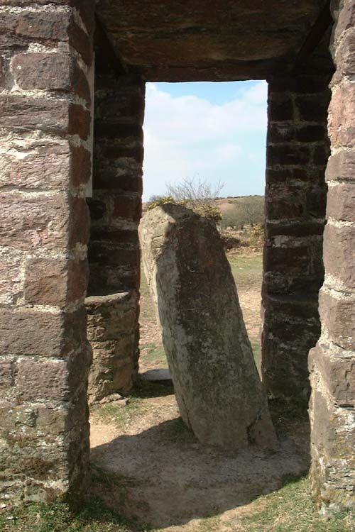 "Caratacus stone, Winsford Hill. SS 88983355  The inscription reads ""CARAACI NEPUS', kinsman of Carat (PID:2821)"