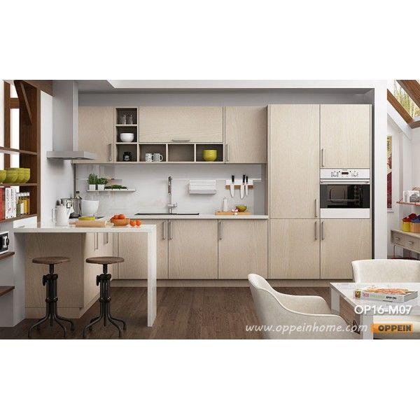 Modern Light Wood Grain Kitchen Cabinet OP16-M07 (1 ...
