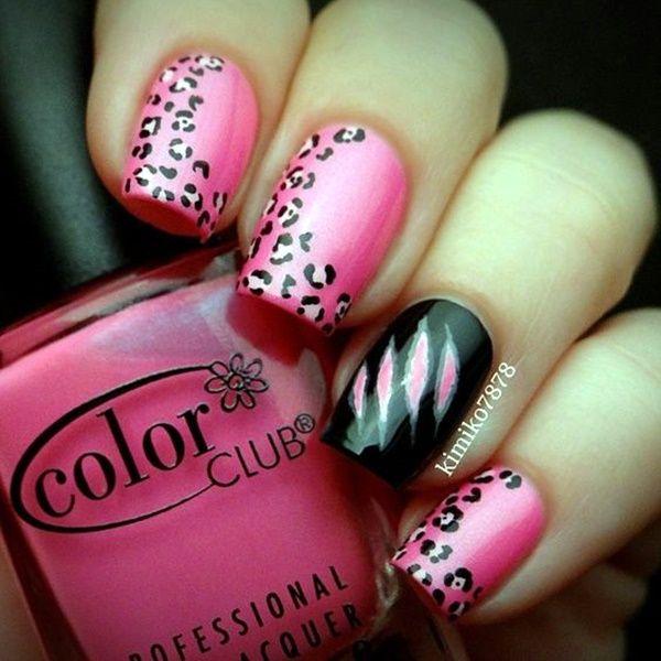 45 Cute Pink And Black Nails Designs Black Nails White Nail Art