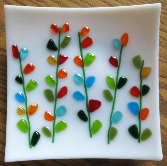Serving Dish Square Platter Fused Glass Plate Shakuf design Blooming Branches in Blue and Turquoise Mothers Day Cake Platter