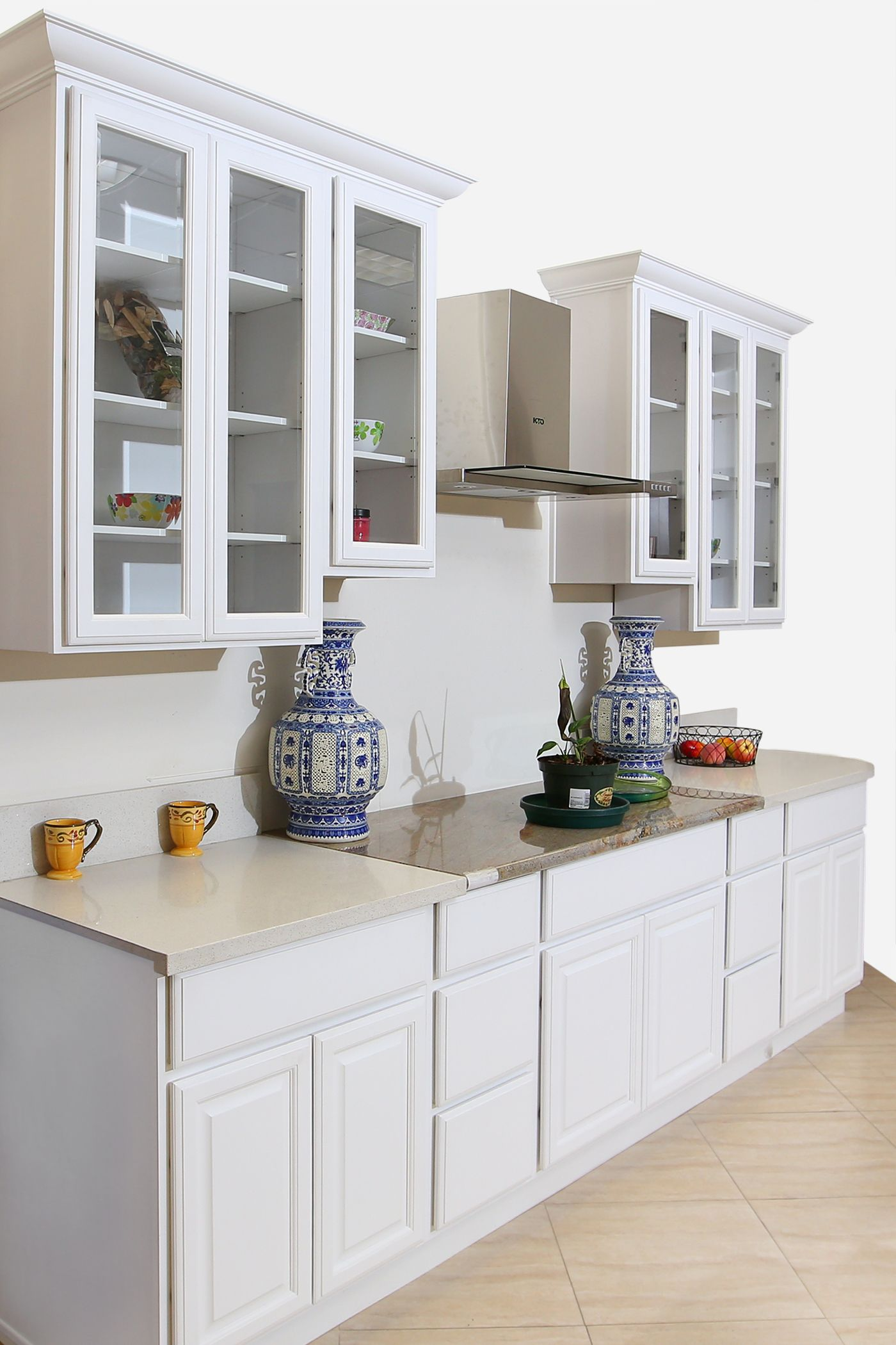 Belmore white cabinets with a perfect touch of glass doors