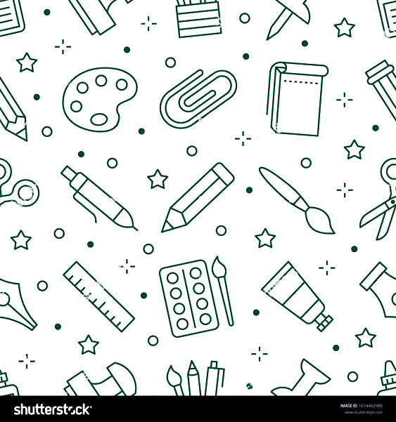 Stationery Background School Tools Seamless Pattern Art Education Wallpaper With Line Icons Of Pencil Pen Paintbrush Palette Notebook Painter S Pendidikan