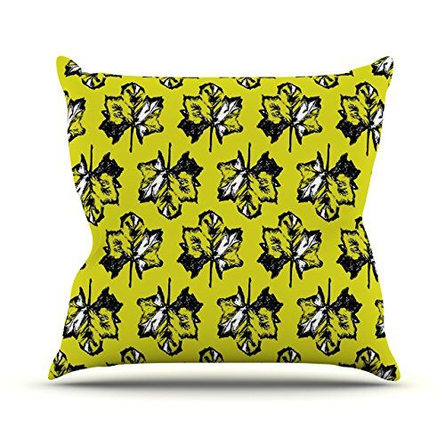 "KESS InHouse Julia Grifol ""Green Tree Leaves"" Yellow Throw Pillow, 18 by 18-Inch, green #pillow #leaves #design #pattern #black #kessinhouse"