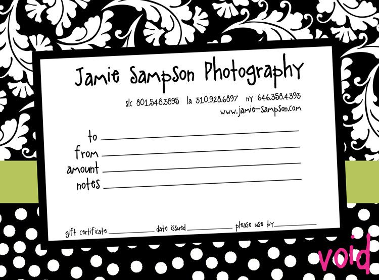 PhotographyGiftCertificateTemplatesgiftCertificatePromotion