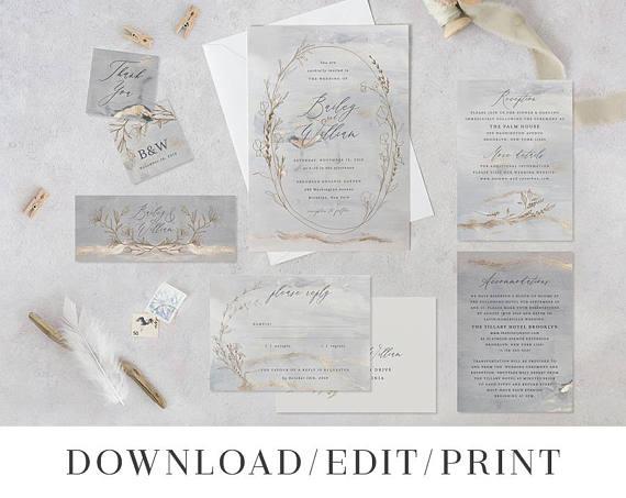 Flowers Calligraphy Navy Blue Watercolor Floral Wedding Invitation Suite Maura Suite ranunculus peonies Greenery