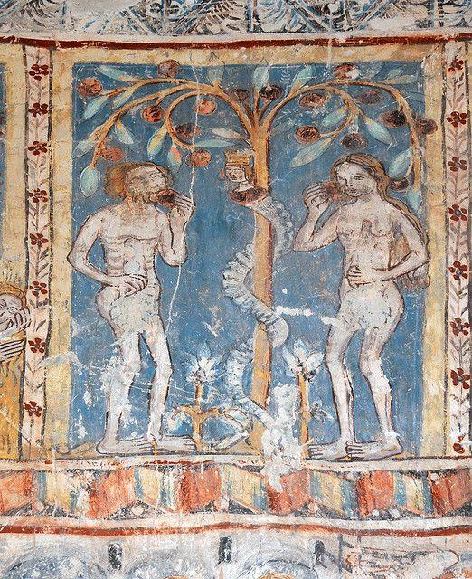 Adam und Eva, Wandmalerei, Kirche Sogn Gieri, Rhäzün, Graubünden, Schweiz, 1330/40