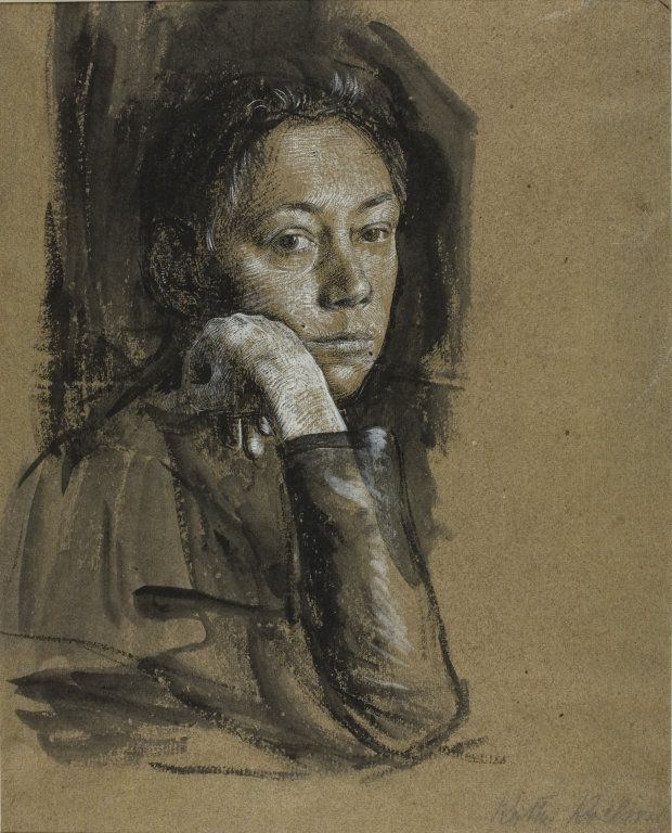 Käthe Kollwitz - Self-Portrait - 1892. Black gouache with brush and gray wash heightened with white gouache on brown wove paper.