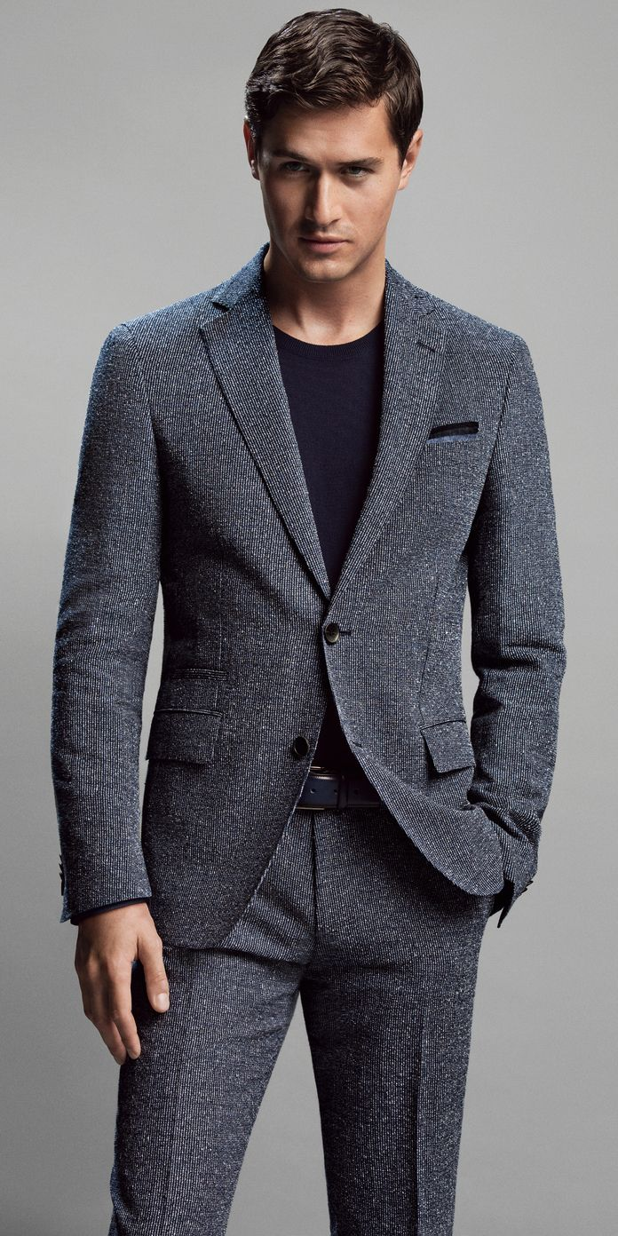 Men 39 S Charcoal Suit Black Crew Neck T Shirt Blue Pocket