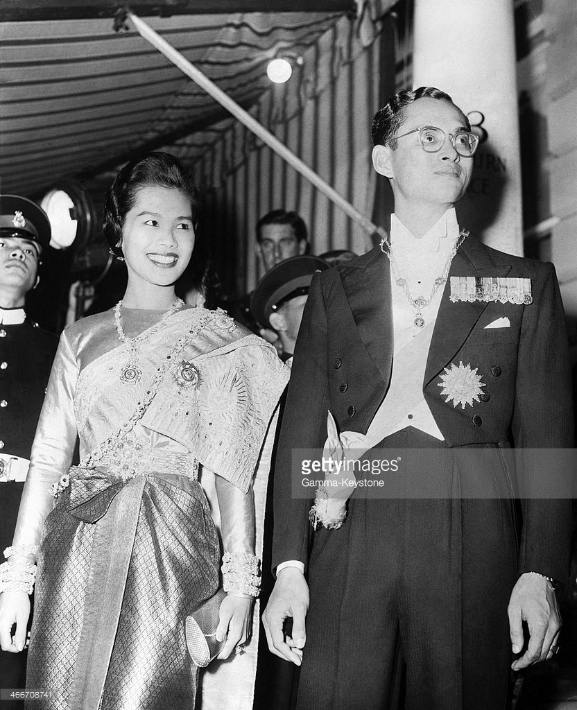 King Bhumibol Adulyadej Of Thailand Aka Rama Ix And Wife Queen Sirikit  Kitiyakara Arrive At The