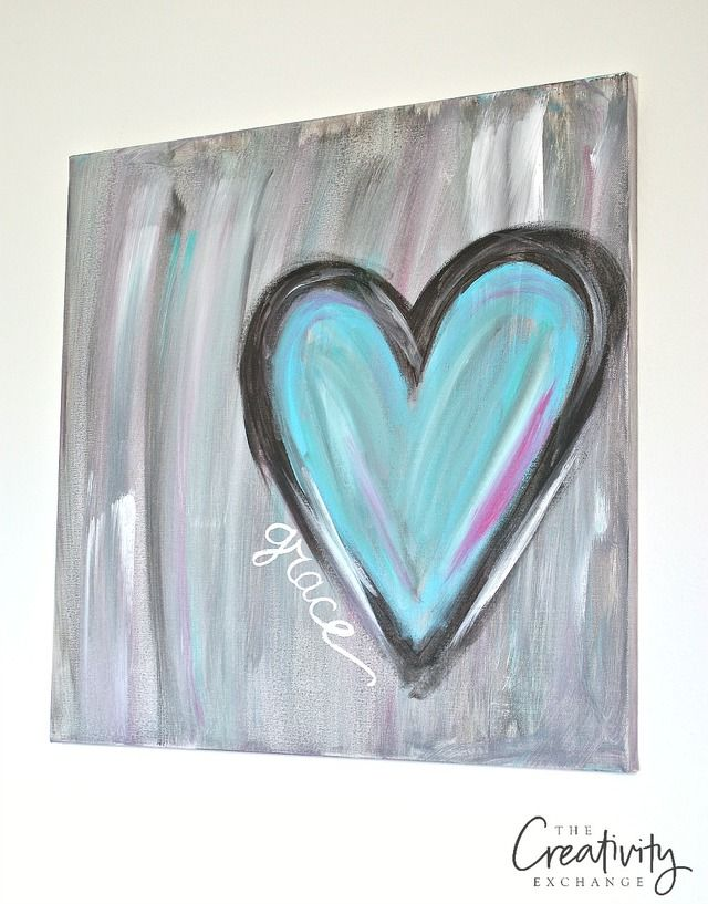 tutorial for diy heart painting canvas the creativity