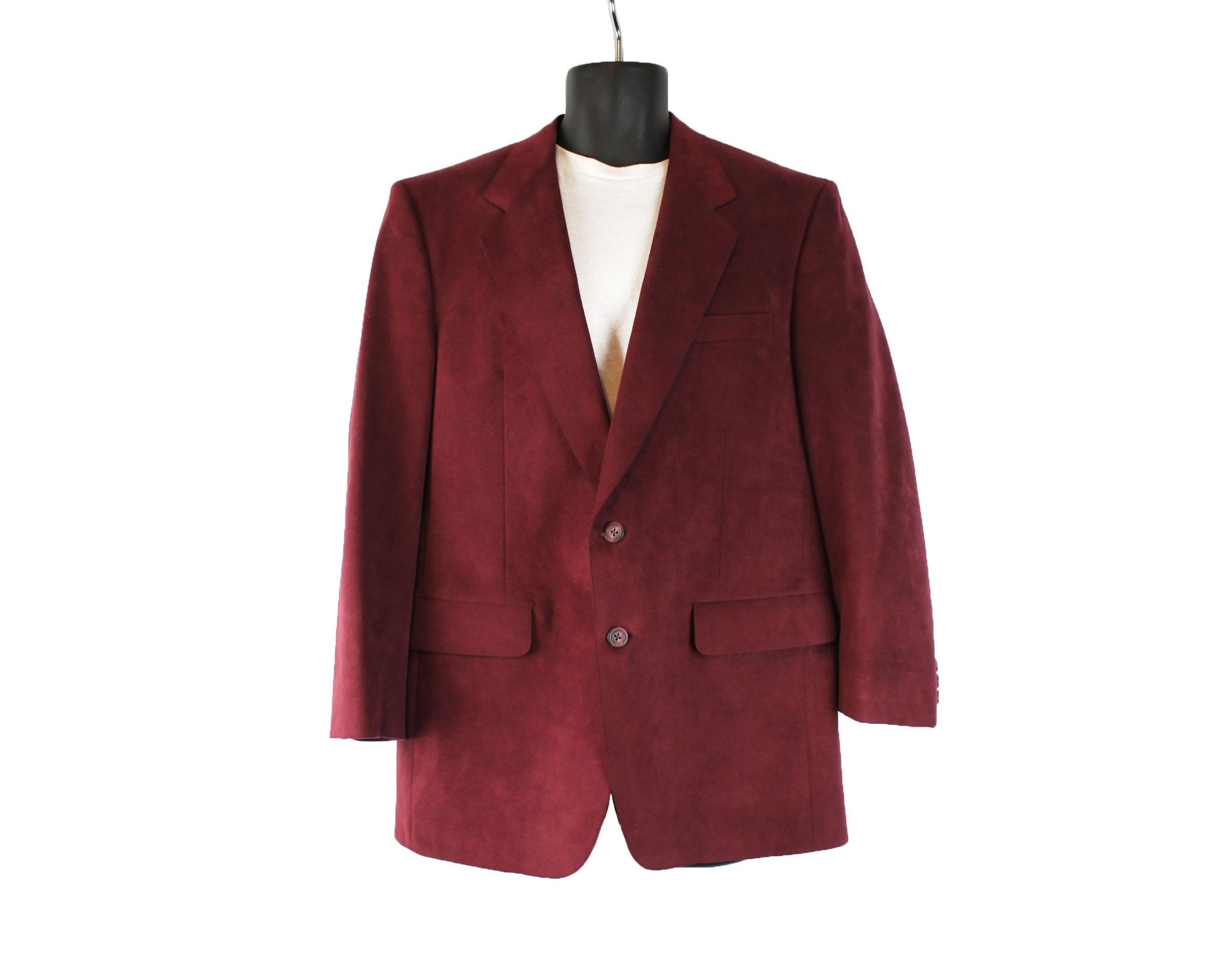 Vintage 70s Blazer 42s Dark Burgundy Wine Red Faux Suede Jacket Coat Kingsridge Free Us Shipping By Hepcatclothes On Et Faux Suede Jacket Blazer Vintage Blazer