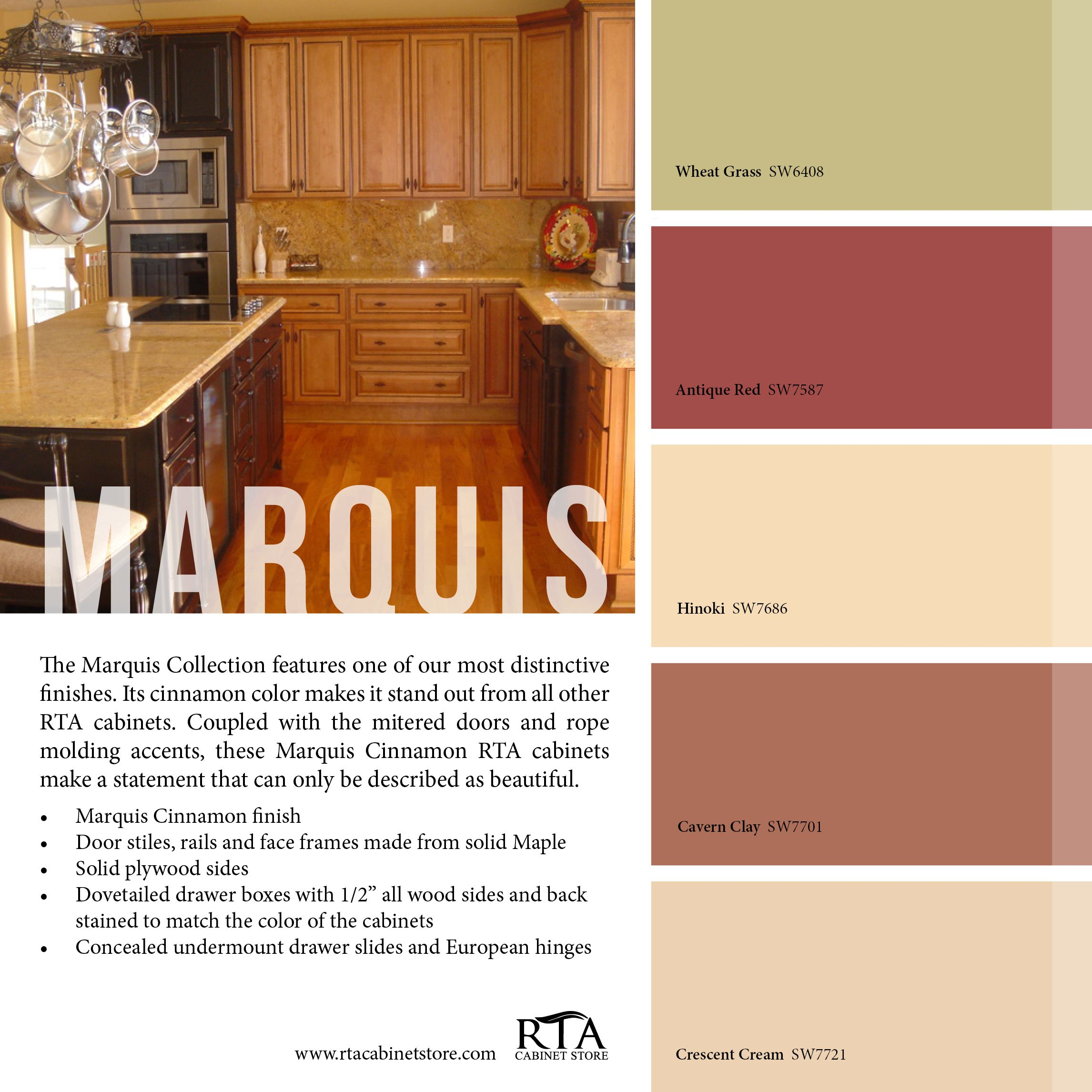 Color palette to go with our marquis cinnamon kitchen for Cinnamon colored kitchen cabinets