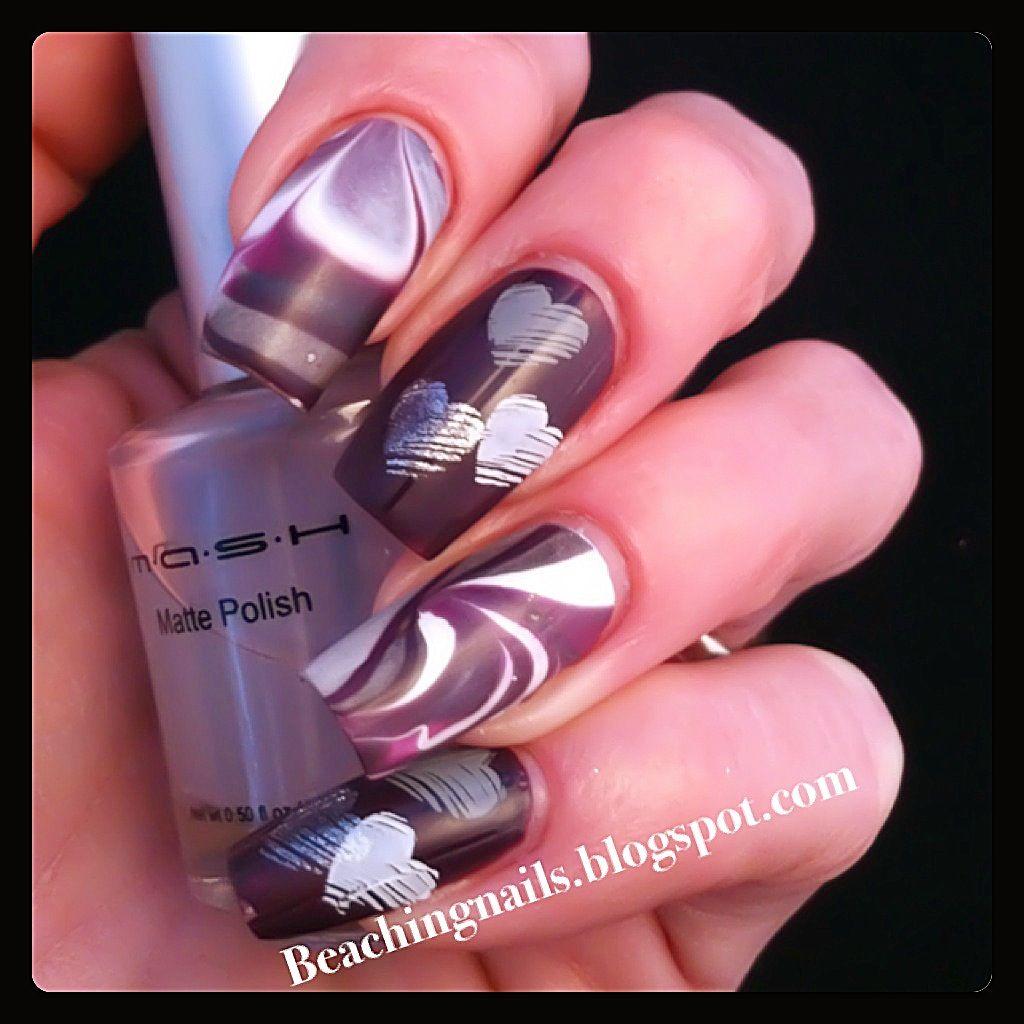Purple Love Nail Art