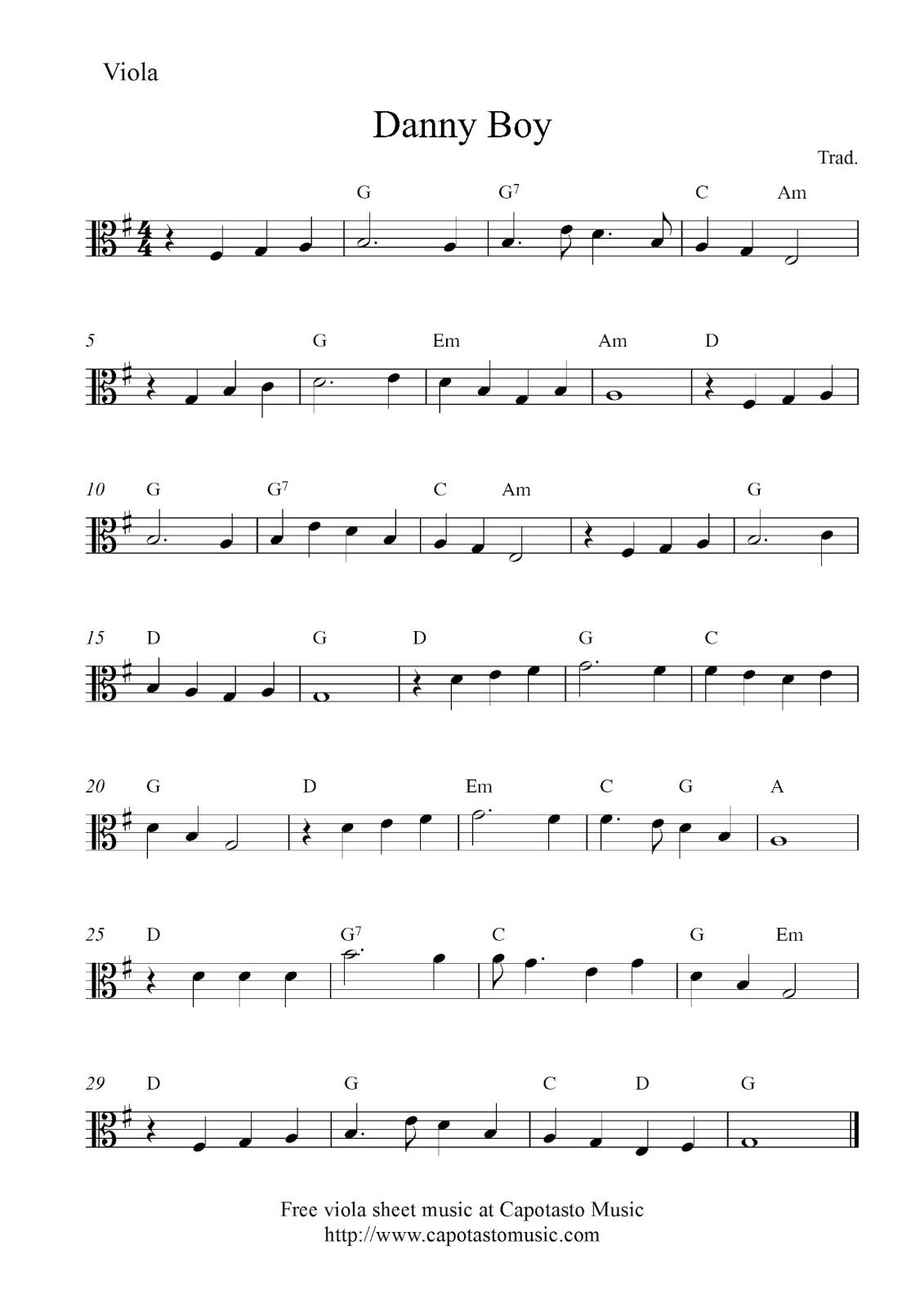 Danny Boy Viola Sheet Music Sheet Music Viola Music