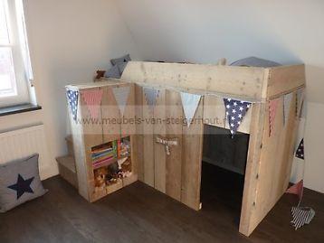 halfhoogslaper van steigerhout steigerhouten peuterbed bed slaapkamer stapelbedden en hoogslapers marktplaatsnl
