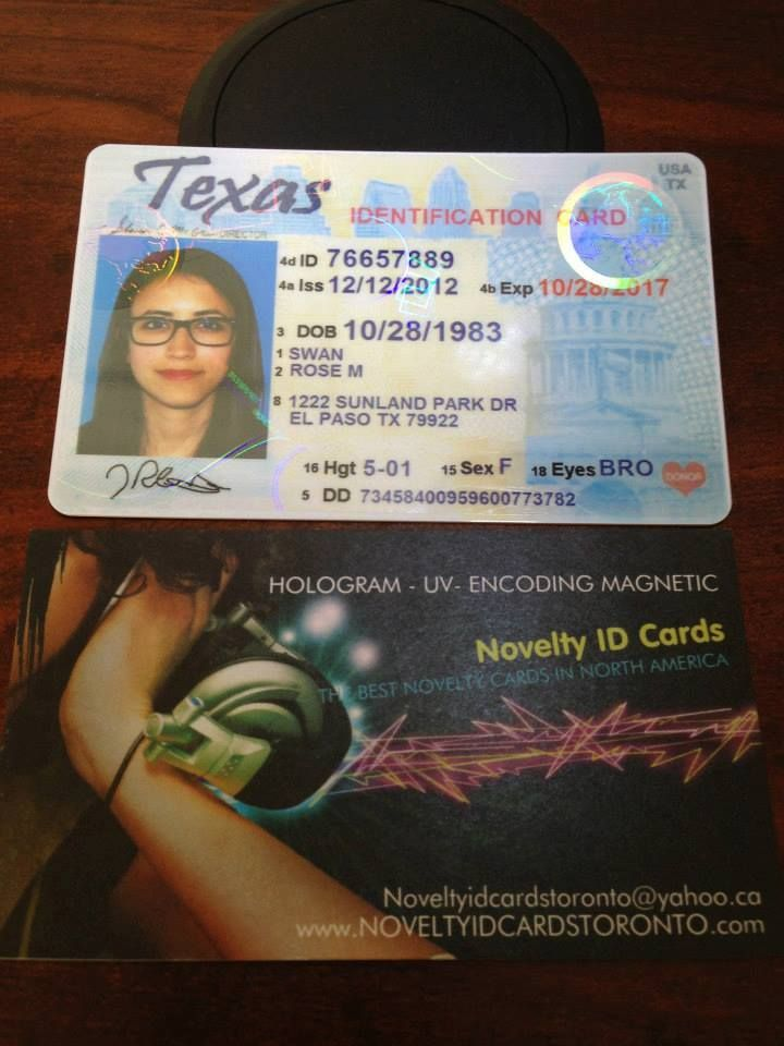 This is our Fake Novelty State Texas Id Sample - Visit http://www ...