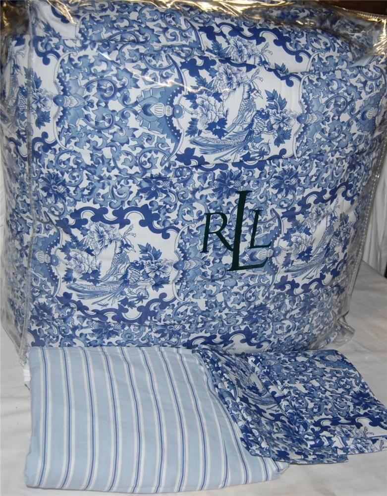 Ralph Lauren Porcelain Blue Queen Comforter Set New 1st