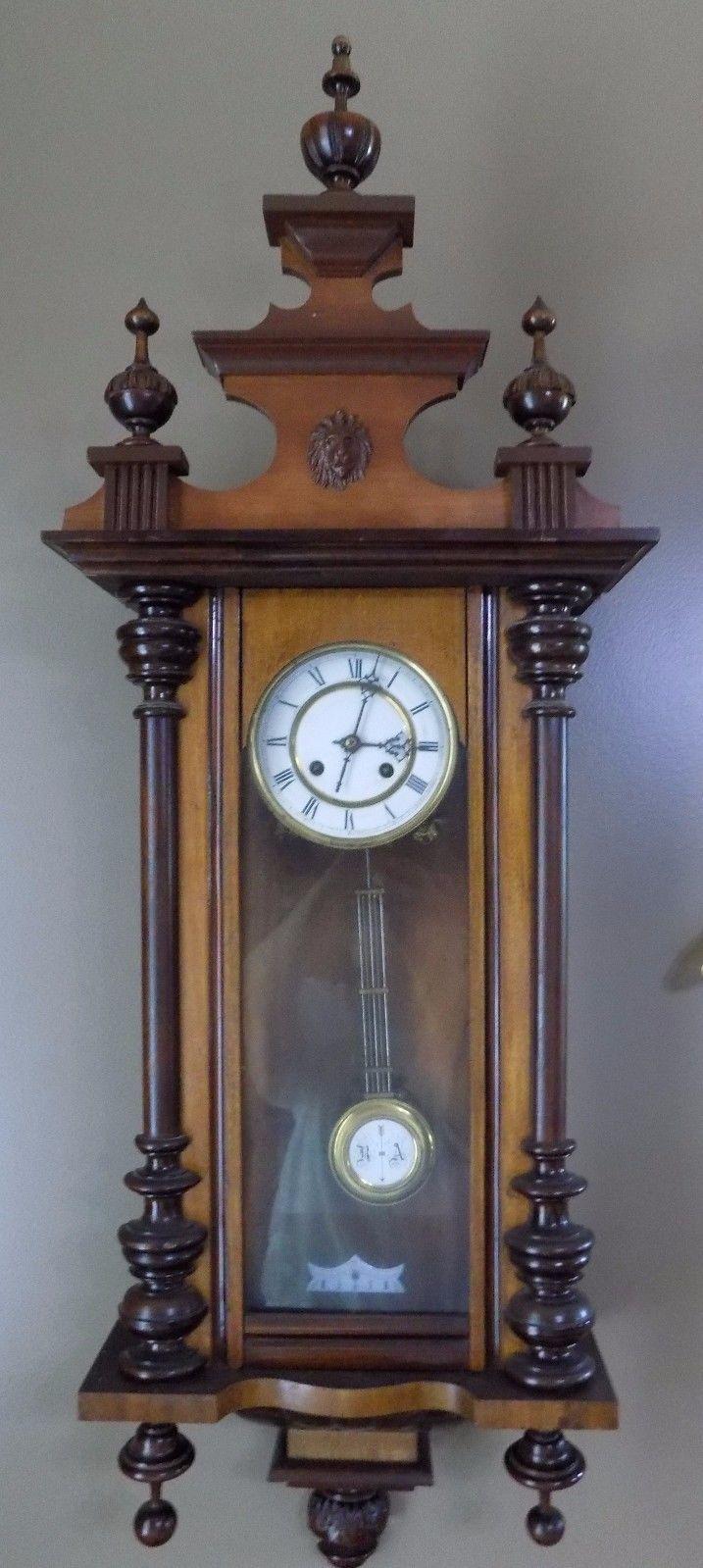 Antique german wall clock walnut running 43quot key ra for German pendulum wall clocks