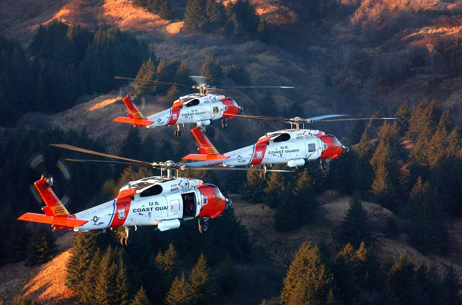 Coast Guard MH60 Jayhawk helicopters from Air Station
