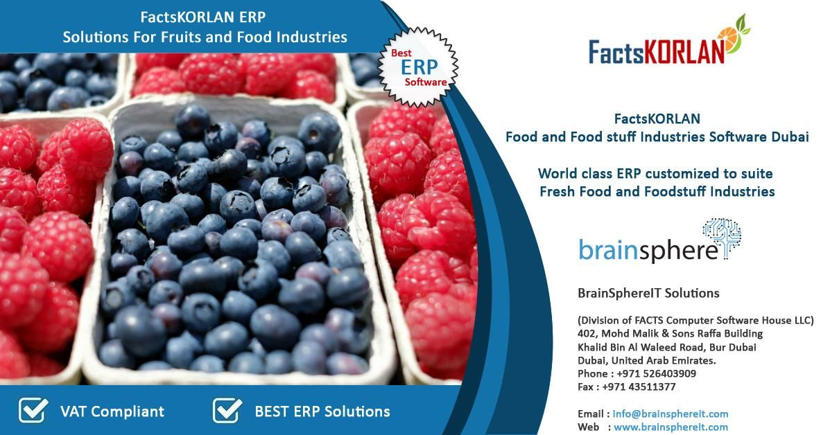 Industry Specific ERP Solution for Food Industry Dubai