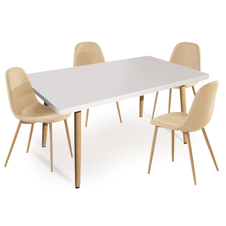 Table Rectangulaire Scandinave Nora Blanc Lot De 4 Chaises Scandinaves Gao Tissu Beige En 2020 Chaise De Salle A Manger Chaise Scandinave Et 4 Chaises